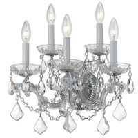 Crystorama 4404-CH-CL-MWP Maria Theresa 5 Light 14 inch Polished Chrome Wall Sconce Wall Light in Polished Chrome (CH), Clear Hand Cut