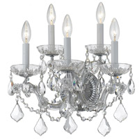 Crystorama 4404-CH-CL-SAQ Maria Theresa 5 Light 14 inch Polished Chrome Wall Sconce Wall Light in Swarovski Spectra (SAQ), Polished Chrome (CH)