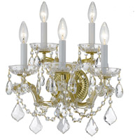 Crystorama 4404-GD-CL-MWP Maria Theresa 5 Light 14 inch Gold Wall Sconce Wall Light in Gold (GD) Clear Hand Cut