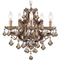 Maria Theresa 6 Light 20 inch Antique Brass Mini Chandelier Ceiling Light in Antique Brass (AB), Golden Teak Hand Cut