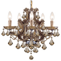 Maria Theresa 6 Light 20 inch Antique Brass Mini Chandelier Ceiling Light in Antique Brass (AB), Golden Teak Swarovski