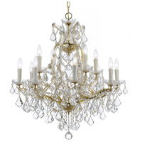 Crystorama Maria Theresa 12 Light Chandelier in Gold, Italian Crystals 4412-GD-CL-I