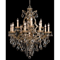Crystorama Maria Theresa 13 Light Chandelier in Antique Brass, Golden Teak, Hand Cut 4413-AB-GT-MWP photo thumbnail