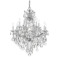 Crystorama 4413-CH-CL-S Maria Theresa 13 Light 28 inch Polished Chrome Chandelier Ceiling Light in Polished Chrome (CH), 12, Clear Swarovski Strass