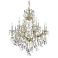 Crystorama 4413-GD-CL-SAQ Maria Theresa 13 Light 28 inch Gold Chandelier Ceiling Light in Swarovski Spectra (SAQ), Gold (GD)