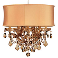 Crystorama 4415-AB-SHG-GTS Brentwood 6 Light 20 inch Antique Brass Mini Chandelier Ceiling Light in Antique Brass (AB), Harvest Gold (SHG), Golden Teak Swarovski