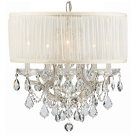 Crystorama 4415-CH-SAW-CLM Brentwood 6 Light 20 inch Polished Chrome Mini Chandelier Ceiling Light in Polished Chrome (CH), Pleated Antique White (SAW), Clear Hand Cut
