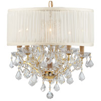 Crystorama Brentwood 6 Light Chandelier in Gold, Clear Crystal, Swarovski Spectra, Pleated Antique White 4415-GD-SAW-CLQ