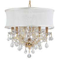 Crystorama Brentwood 6 Light Chandelier in Gold, Clear Crystal, Hand Cut, Smooth White 4415-GD-SMW-CLM