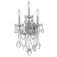 Crystorama Maria Theresa 3 Light Wall Sconce in Polished Chrome 4423-CH-CL-MWP