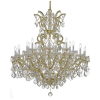 Crystorama 4424-GD-CL-MWP Maria Theresa 25 Light 46 inch Gold Chandelier Ceiling Light in Hand Cut, Gold (GD)