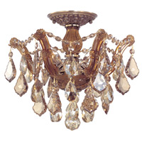 Crystorama Maria Theresa 6 Light Semi Flush Mount in Antique Brass, Golden Teak, Swarovski Elements 4430-AB-GTS