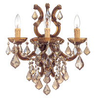 Crystorama Maria Theresa 3 Light Wall Sconce in Antique Brass, Golden Teak, Hand Cut 4433-AB-GT-MWP