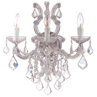 Crystorama 4433-CH-CL-SAQ Maria Theresa 3 Light 17 inch Polished Chrome Wall Sconce Wall Light in Swarovski Spectra (SAQ), Polished Chrome (CH)
