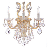 Crystorama 4433-GD-CL-SAQ Maria Theresa 3 Light 17 inch Gold Wall Sconce Wall Light in Gold (GD), Swarovski Spectra (SAQ)