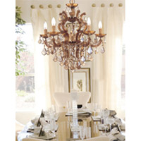 Crystorama Maria Theresa 6 Light Chandelier in Antique Brass with Hand Cut Crystals 4435-AB-GT-MWP