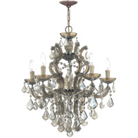 Crystorama Maria Theresa 5 Light Chandelier in Antique Brass, Golden Teak, Swarovski Elements 4435-AB-GTS photo thumbnail