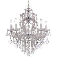Crystorama 4435-CH-CL-MWP Maria Theresa 6 Light 23 inch Polished Chrome Chandelier Ceiling Light in Clear Hand Cut