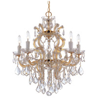 Maria Theresa 6 Light 23 inch Gold Chandelier Ceiling Light in Gold (GD), 5, Clear Swarovski Strass