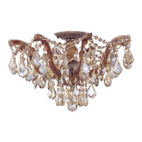 Crystorama Maria Theresa 5 Light Semi Flush Mount in Antique Brass, Golden Teak, Hand Cut 4437-AB-GT-MWP