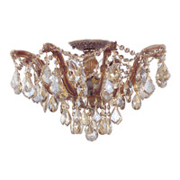 Crystorama Maria Theresa 5 Light Semi-Flush Mount in Antique Brass with Swarovski Elements Crystals 4437-AB-GTS