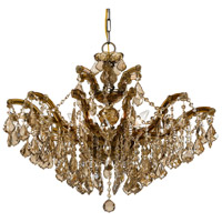 Crystorama Maria Theresa 6 Light Chandelier in Antique Brass, Golden Teak, Hand Cut 4439-AB-GT-MWP