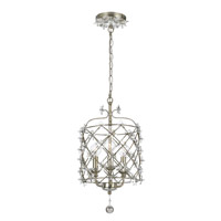 Crystorama Willow 3 Light Hanging Lantern in Antique Silver 445-SA