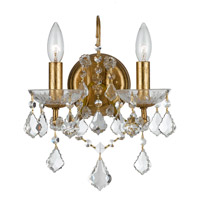 Filmore 2 Light 10 inch Antique Gold Wall Sconce Wall Light in Antique Gold (GA), Clear Swarovski Strass