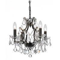 Filmore 4 Light 18 inch Vibrant Bronze Mini Chandelier Ceiling Light in Hand Cut, Vibrant Bronze (VZ)