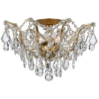 Filmore 5 Light 19 inch Antique Gold Semi Flush Mount Ceiling Light in Hand Cut, Antique Gold (GA)