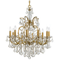 Crystorama Filmore 10 Light Chandelier in Antique Gold, Swarovski Spectra 4458-GA-CL-SAQ