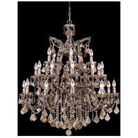 Maria Theresa 26 Light 38 inch Antique Brass Chandelier Ceiling Light in Golden Teak (GT), Hand Cut, Antique Brass (AB)