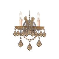 Crystorama Maria Theresa 2 Light Wall Sconce in Antique Brass with Hand Cut Crystals 4472-AB-GT-MWP