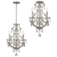 Maria Theresa 4 Light 12 inch Chrome Mini Chandelier Ceiling Light in Italian Crystals (I), Chrome (CH)
