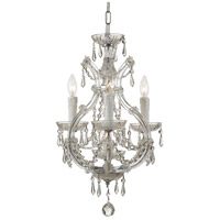 Maria Theresa 4 Light 12 inch Polished Chrome Mini Chandelier Ceiling Light in Hand Cut, Polished Chrome (CH)