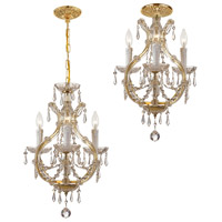 Maria Theresa 3 Light 12 inch Polished Chrome Mini Chandelier Ceiling Light in Italian Crystals (I), Gold (GD)