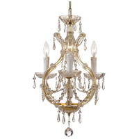 Maria Theresa 3 Light 12 inch Gold Mini Chandelier Ceiling Light in Hand Cut, Gold (GD)