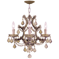 Maria Theresa 4 Light 17 inch Antique Brass Mini Chandelier Ceiling Light in Antique Brass (AB), Golden Teak Swarovski
