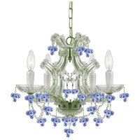 Crystorama 4474-CH-BLUE Maria Theresa 4 Light 17 inch Chrome Mini Chandelier Ceiling Light