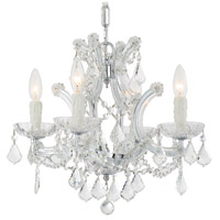 Crystorama 4474-CH-CL-MWP Maria Theresa 4 Light 17 inch Polished Chrome Mini Chandelier Ceiling Light in Polished Chrome (CH), Clear Hand Cut