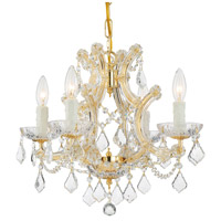 Maria Theresa 4 Light 17 inch Gold Mini Chandelier Ceiling Light in Clear Crystal (CL), Hand Cut, Gold (GD)