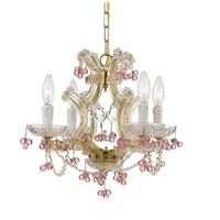 Crystorama Signature 4 Light Chandelier in Gold, Hand Cut 4474-GD-ROSA