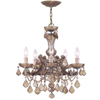 Crystorama Maria Theresa 5 Light Chandelier in Antique Brass with Hand Cut Crystals 4476-AB-GT-MWP