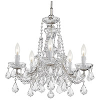 Crystorama 4476-CH-CL-MWP Maria Theresa 5 Light 20 inch Polished Chrome Mini Chandelier Ceiling Light in Polished Chrome (CH), Clear Hand Cut