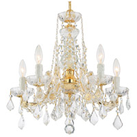 Crystorama 4476-GD-CL-MWP Maria Theresa 5 Light 20 inch Gold Mini Chandelier Ceiling Light in Gold (GD), Clear Hand Cut