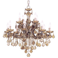 Crystorama Maria Theresa 12 Light Chandelier in Antique Brass with Swarovski Elements Crystals 4479-AB-GTS