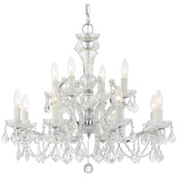 Crystorama Maria Theresa 12 Light Chandelier in Polished Chrome, Clear Crystal, Italian Crystals 4479-CH-CL-I