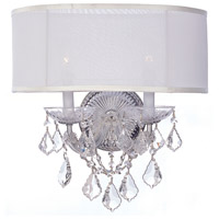 Crystorama 4482-CH-SMW-CL-MWP Brentwood 2 Light 13 inch Polished Chrome Wall Mount Wall Light in Clear Hand Cut