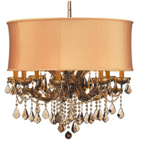 Crystorama Brentwood 12 Light Chandelier in Antique Brass, Golden Teak, Hand Cut, Harvest Gold 4489-AB-SHG-GTM