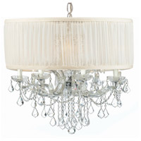 Crystorama 4489-CH-SAW-CLM Brentwood 12 Light 30 inch Polished Chrome Chandelier Ceiling Light in Polished Chrome (CH), Pleated Antique White (SAW), Clear Hand Cut